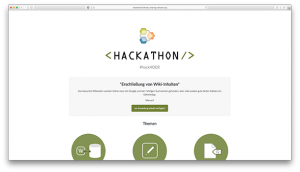 Screenshot of project website: Hackathons #hack4OER