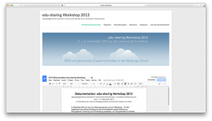 Screenshot of website: OER and secured  collaboration in an educational cloud